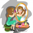 Stock Vector: Womcombing hair front of mirror