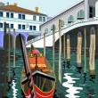 Stock Vector: Vector image of Rialto Bridge in Venice