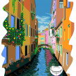 Stock Vector: Vector illustration of Venice street