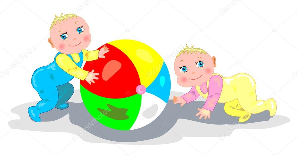 小孩在玩球— 矢量图片作者