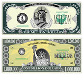 Ukázka bankovka milionu dolarů — Stock vektor
