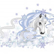 Stock Vector: Christmas white horse