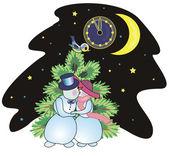 Snowmen kiss on New Year's Eve — Stock Vector