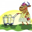 Сheerful cow with shopping cart of milk — Vector de stock