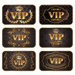 Set of gold vip cards with pattern — Stock Vector #10128406