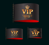 Set of gold vip labels — Vettoriale Stock
