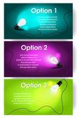 Vektorové bannery pro text s žárovka — Stock vektor