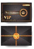 Sobre de la invitación vip con el patrón y sello — Vector de stock