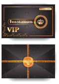 VIP invitation envelope with pattern and stamp — Stockvector