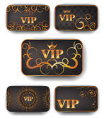 Gold vip cards in vector — Vettoriale Stock