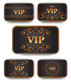 Gold vip cards in royal style — Stock Vector