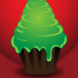 Stock Vector: Christmas tree in form of cake