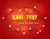Advertising card with colorful garland and place for text on the red background — Cтоковый вектор