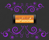 Vector VIP label on the fabric textile background — Stock Vector
