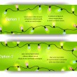 Vector banners with  colorful bulb garland on the green background — Stock Vector