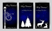 Christmas banners with silhouettes on the blue background — Stock Vector