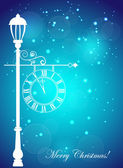 Christmas card with the silhouette of street clock and snowflakes — Stock Vector