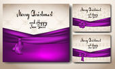 Christmas cards with violet ribbons — Stock Vector