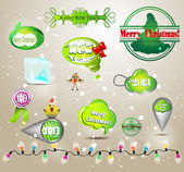 Christmas decoration green collection — Stock Vector