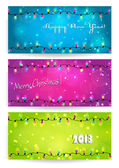 Christmas banners with a colorful bulb garland — Stock Vector