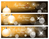 Christmas banners with balls, stars, snowflakes and blurry lights illustration — Stok Vektör