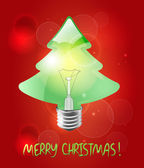 Christmas tree in the shape bulb on the red background — Stock Vector