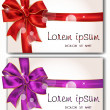 Set of cards with red gift bows with ribbons — Stock Vector