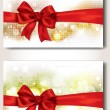 Set of banners with red ribbons — Stock Vector