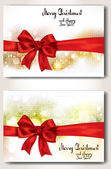 Set of banners with red ribbons — Vector de stock