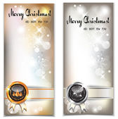 Christmas and New year banners with stamps — Stock Vector