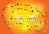 Bright colorful card with colorful garland and place for text — Stockvector