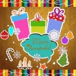 Feliz Natal vintage com fundo caixas de presente, estrelas, árvore de Natal, flocos de neve, velas — Vetorial Stock