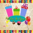 Vector de stock : Vintage holiday background with gift boxes, cakes, air balloons
