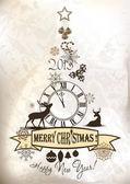 Diseño del árbol de navidad feliz — Vector de stock