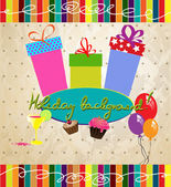 Vintage vakantie achtergrond met geschenkdozen, taarten, lucht ballonnen — Stockvector