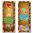 Vintage christmas banners with gift boxes, balls, christmas tree, snowflakes — Stock vektor