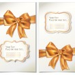 Set of cards with gold bows and ribbons — Stockvectorbeeld