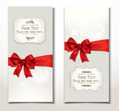 Vector fabric textile banners with red bow — Vettoriale Stock