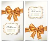 Set of cards with gold bows and ribbons — Stock Vector
