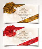 Gift cards with bows and ribbons — Stockvektor