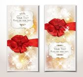 Set of gift cards with red bow — 图库矢量图片