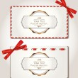 Stock Vector: Elegant gift cards with red ribbons