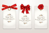 Gift cards with different red bows — Vector de stock