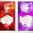 Red and violet holiday cards with bows, ribbons and snowflakes — Stockvectorbeeld