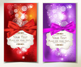 Red and violet holiday cards with bows, ribbons and snowflakes — Stock Vector