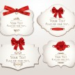 Stok Vektör: Set of elegant cards with red bows