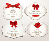 Set of elegant cards with red bows — Vector de stock