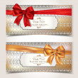 Vector de stock : Elegant gift cards with pattern and ribbons