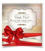 Tarjeta de regalo elegante con cintas y moño rojo — Vector de stock
