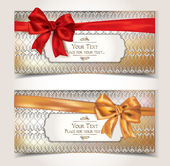 Elegant gift cards with pattern and ribbons — Vector de stock
